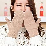 Pengijia, guanti da donna, invernali, spessi, lavorati a maglia, in cashmere, doppio strato, in lana di peluche, guanti caldi da donna, con dita intere, 10 x 21 cm