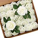 Wisolt Rose Artificiali per Fiori, 30Pcs Fiori in Schiuma Finti dall'aspetto Reale Rose con Gambo Lungo e 5 Foglie per Bouquet da Sposa, centrotavola per Matrimoni, Baby Shower (Bianca)