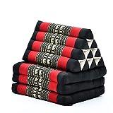 Leewadee Materasso Pieghevole a Tre segmenti: Comodo Tappeto con Cuscino Triangolare in Eco-kapok Fatto a Mano, Materasso thailandese, 170 x 53 cm, Nero Rosso