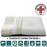 Evergreenweb - Cuscino 100% Lattice Doppia Onda per cervicale Tessuto Aloe Vera e Cotone Doppia Fodera Sfoderabile e Lavabile in Lavatrice