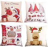 HIQE-FL Set di 4 Natale Cuscino,Fodere Cuscino,Divano Decorazioni Natalizie Modello di Natale,Natale 2020 Ornamenti