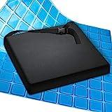 AIESI® Cuscino Antidecubito Professionale (Certificato) Memory in poliuretano espanso con cuscinetto interno in gel viscoelastico e cinghia di fissaggio cm 44x44x5h