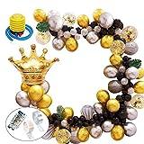Aiooy Decorazioni Compleanno Arco Palloncini in Oro Nero, Palloncini Compleanno in Lattice Feste di Compleanno Matrimoni Decorazioni per celebrazioni Natalizie (Oro Confetti, Nero,Argento, Oro)