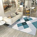 CCTYJ Green Blue Grey Geometric Lattice Stitching Pattern Semplice Accessori per la casa Indoor Corridoio Comodino Comodino comodino-60 * X90 cm. alla Moda Pastello Design Geometrico Multicolore