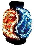 Felpa 3d3D stampa divertente felpa con cappuccio da donna uomo con cappuccio unisex adolescenti Felpa con cappuccio con maniche lunghe Pullover con cappuccio per il tempo libero S-XXL-Fire ice_L