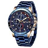 Orologio da uomo LIGE in acciaio inossidabile impermeabile sportivo orologio al quarzo analogico cronografo fasi lunari calendario data casual orologio blu business…