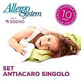 Allergosystem Set Antiacaro Sogno Composto da coprimaterasso con Cerniera per Letto singoloe 1 copricuscin, Polyester, 90x200x20CM e 50x80cm