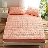 HPPSLT Coprimaterasso Antistress massaggiante - Matrimoniale, Lenzuola in Cotone Spesso Antiscivolo-Arancio Chiaro_135cm × 200cm