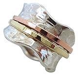 Energy Stone Brezza di vento - Anello girevole di meditazione in argento sterling - base ad effetto battuto - inserti girevoli in ottone e rame (modello UK06)