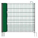 VOSS.farming Rete pollame Classic 50 m per recinzioni elettrificabili, 112 cm di Altezza, a Punta Doppia, Dotata di 16 Pali, Colore Verde