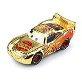 HUIJUNWENTI Pixar Cars 3 Saetta McQueen Jackson Tempesta Mater 1:55 pressofuso in Lega di Metallo Giocattolo dell'automobile di Modello Regalo di Natale for Bambini Ragazzi (Colore : McQueen Gold)