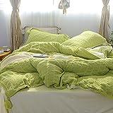 yaonuli Fodera in Pile di Velluto di Cristallo a Quattro Pezzi in Pile Corallo Copripiumino in Flanella Verde Mela più Lungo (220 * 240 cm)