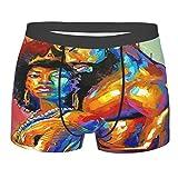 Afroamericano Amante Coppia King & Queen Mens Biancheria intima Boxer Slip per Ragazzo Gioventù Poliestere Spandex Comfort Nero L