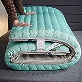 Materasso da pavimento pieghevole per dormire, coprimaterasso in lattice tailandese addensato, materasso futon tradizionale giapponese, tappetino in tatami pieghevole, verde 90x200cm (35x79 pollici)