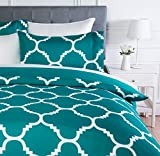 Amazon Basics - Set copripiumino in microfibra, 135 x 200 cm, Tè blu (Teal Trellis)