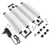 EShine 4 pannelli luminosi a LED da 30 cm da collocare sotto i mobili, dimmerabili e attivabili con movimento manuale - controllo dimmer senza contatto, Bianco Freddo (6000K)