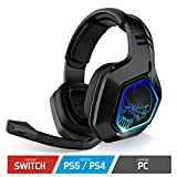 SPIRIT OF GAMER - XPERT-H900 - Cuffie Wireless Full Black Pro Gamer - Bassi Potenti - LED Blu - Ecopelle - Microfono - Autonomia 12H - PS5 / PC / PS4 / SWITCH
