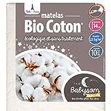 Babysom – Materasso per neonato Bio in cotone, 70 x 140 cm, 100% cotone bio: fibre naturali, spessore 14 cm, sfoderabile, certificato GOTS® e Oeko-Tex, fabbricazione francese