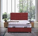 Letto a molle Madrid, con cassettone, in tessuto, letto matrimoniale da hotel, 140 x 200 cm, colore: Bordeaux