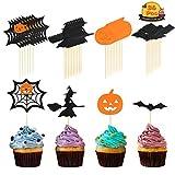 LANMOK 36pcs Halloween Cupcake Toppers Flag Markers per Stuzzicadenti Ragnatela Strega Zucca Pipistrello Party Cake Decorating Snacks Food