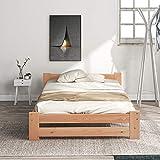 Letto in legno massiccio con testiera e rete a doghe, colore legno (90 x 200 cm)