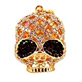Uziqueif Strass Skull Skull Portachiavi Portachiavi Portafoglio Pendente di Cristallo Scintillante Doni Anello Chiave per Gli Adulti Decorazioni Auto Zaino di Halloween,Nero
