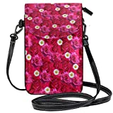 XCNGG Borsa piccola per cellulare Roses Flowers Love Valentine Day Cell Phone Purse Wallet for Women Girl Small Crossbody Purse Bags