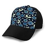 Holefg3b - Berretto da baseball comodo, classico, colore: blu, motivo floreale, stampa di sfondo