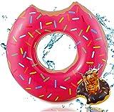 Ciambella gonfiabile morsa Ø 120 cm anello da nuoto galleggiante materasso ad aria cuscino galleggiante per piscina e giochi d'acqua, con 1x portabicchieri per bambini e adulti rosa