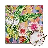 Houity esotico composizione botanica, fiori di orchidea e palma, gioiosa estate lavabile, morbido per la cucina, facile da pulire, comodo e pieghevole, set da 4
