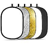 Neewer 5-in-1 Kit di Riflettore/Diffusore Ovale Portatile 150x200cm Professionale per Illuminazione con Borsone per Fotografia, Traslucido, Argento, Nero, Dorato, Bianco