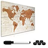 Navaris Memo Board Lavagna Magnetica 40x60cm - Lavagnetta Scrivibile Cancellabile con 1x Pennarello e 5X Calamite - Bacheca Design World Map Vintage