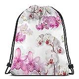 Bapa sportiva da palestra leggera per borse da ginnastica con motivo a orchidea floreale per viaggi in spiaggia