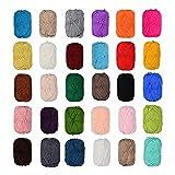 Set di 12 gomitoli di lana colorata per uncinetto, da 50 g, in 100% cotone, disponibili nei colori nero, blu, grigio, rosso, verde, beige, marrone, ecc. (non selezionabili)