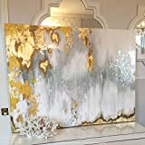 Orlco Art Hand Painted Original Abstract Modern Art Contemporary Painting Gold White Gray Wall Art Decoration Texture Artwork 32x48inch(80x120cm)