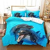 Bedclothes-Blanket Copripiumino Matrimoniale Estivo,Set di Trapunta Stampa Digitale 3D Tre Set di Cuscini con Cappuccio Set di Delfini Tartaruga-4_200 * 200 cm.