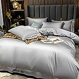 Set biancheria da letto con tessuto antipiega,Biancheria da letto copripiumino Set King Size 3 PCS Grey Seta come Satin Ultra Soft 1 Piumino Cover e 2 pillowcases-E._2,0 m Letto (4 pezzi)