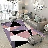 Purple Rosa Black Bianco Geometrico Modello Geometrico Creativo Casual Texture Morbido e Facile da Pulire del corridoio del Divano Decorativo tappeto-60 * X90 cm. Tappeto Moderno a Pelo Corto,