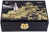 Attrezzatura vivente Custodia in legno fatta a mano con chiave nascosta e portagioielli rimovibile Scatola portaoggetti cinese Scatola portagioie artigianale in lacca dipinta Legno laccato e specch
