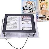 Lente d'ingrandimento da lettura, Lente di ingrandimento 3X, A4 rettangolare con 4 luci LED, Grande Lente Per La Lettura - Dotato di Cordino e Supporto - per Anziani o Scarsa Visione