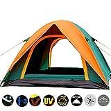 Impermeabile d'escursione di campeggio di pesca della tenda Separato Dual Layer Viaggi stagione della tenda 4 Anti Beach UV tenda per la persona 3-4 Famiglia Green and Orange