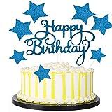JIASHA Happy Birthday Cake Topper(2 Pezzi)+ Star Cupcake Toppers (14 Pezzi)per Matrimonio Compleanno Baby Shower Party Decorazioni per Torte di San Valentino (Bleu)