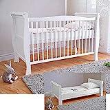 Bianco lettino di legno per bambini ✔ Materasso di lusso Aloe Vera ✔ Tre posizioni di altezza ✔