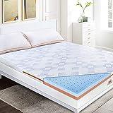 Maxzzz - Topper in memory foam, 180 x 200 cm, gel infuso, molto traspirante, design ergonomico, antiacaro, sfoderabile e lavabile in lavatrice, 5 cm