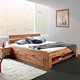 moebelstore24 - Letto Futon in legno di faggio massiccio oliato, 140 x 200 cm, con 4 cassetti con ruote e ripiano per poggiapiedi