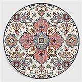 Nicole Knupfer Mandala Tappeto rotondo Vintage Boho Lavabile, Tappeto per soggiorno, camera da letto, bagno, cucina, spiaggia, decorazione (altezza 120 x 120 cm)