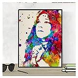 Nacnic Stampa Artistica in Stile acquarello del Volto di Janis Joplin. Colori Vivaci. Ritratto di Una Grande cantante statunitense. Stampato su Carta da 250 Grammi di Alta qualità.