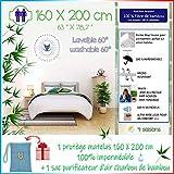 4Guardians🌙 Proteggi Materasso 160x200, Impermeabile Copertina antiacaro Antipolvere 100% Coprimaterasso in Fibra di bambù +1 Sacchetto di Bamboo Charcoal Anti umidità Anti Odore !