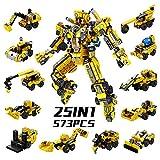 SYOSIN Costruzione Robot Giocattolo Ingegneria Costruzioni Blocchi 25-in-1 573 Pezzi Set Creativo, Veicoli da Costruzione Giocattoli Regali per 5 6 7 8 9 10 Anni Ragazzi e Ragazze Bambini