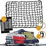 UIHOL Rete Portabagagli per Auto, Bagagliaio Organizer Rete può Essere Esteso a 140x120cm, con 2 Rete Borsa Sedile per Auto+12 Moschettoni 12 Ganci, La Griglia 5x5cm può Essere Fissata più Saldamente